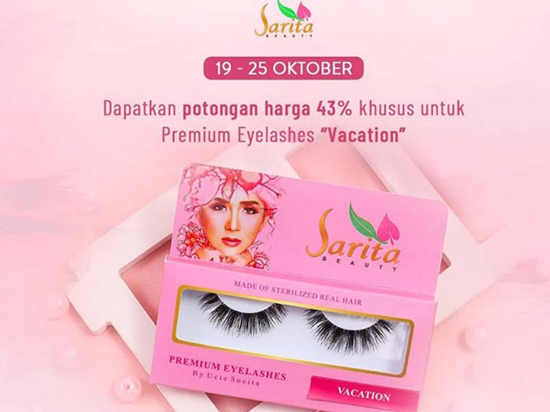 Beli eyelashes Sarita Beauty Varian Vacation di Tokopedia diskon gede. Foto: Sarita Beauty