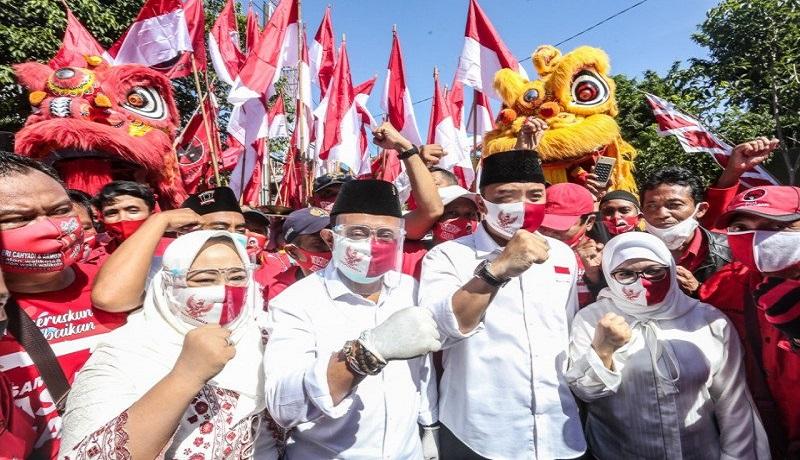 Pasangan Calon Wali Kota dan Wakil Wali Kota Surabaya Nomor 01 Eri Cahyadi dan Armuji. FOTO: Antara