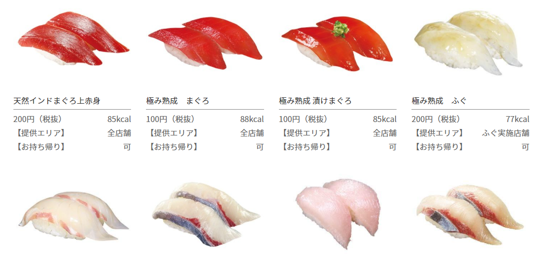 Menu ikan Kura Sushi. Foto: kurasushi.co.jp