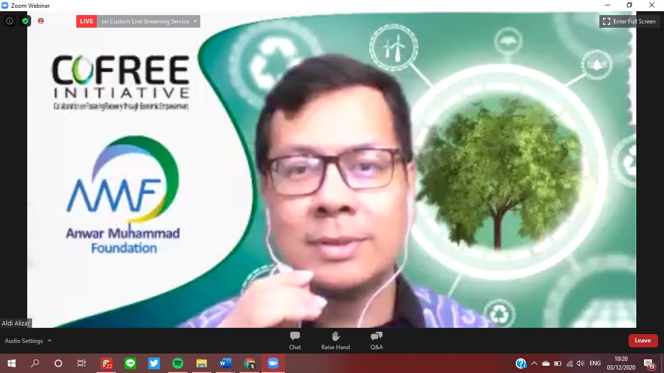 Aldi Muhammad Alizar, co-Founder CoFree Initiative dalam Webinar, Kamis (3/11). Foto: tangkapan layar