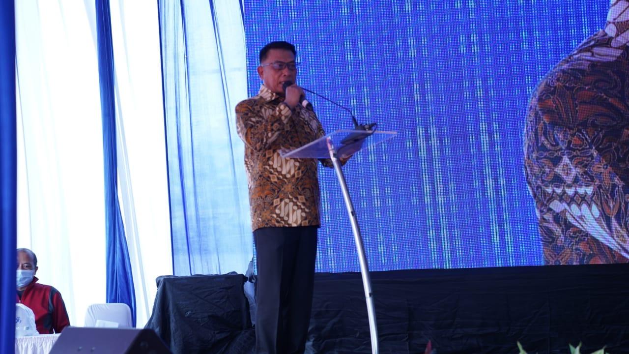 Kepala Staf Kepresidenan Dr. Moeldoko saat menghadiri groundbreaking pembangunan pabrik vaksin PT Jakarta Biopharmaceutical Industry (JBio) di Kawasan Industri Cikande, Serang, Banten. Foto: Biro Setpres