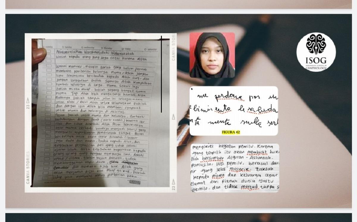 Bagian analisis surat wasiat pelaku terorisme yang dilakukan Grafolog Deborah Dewi. (Foto: JPNN/Dok. pribadi)