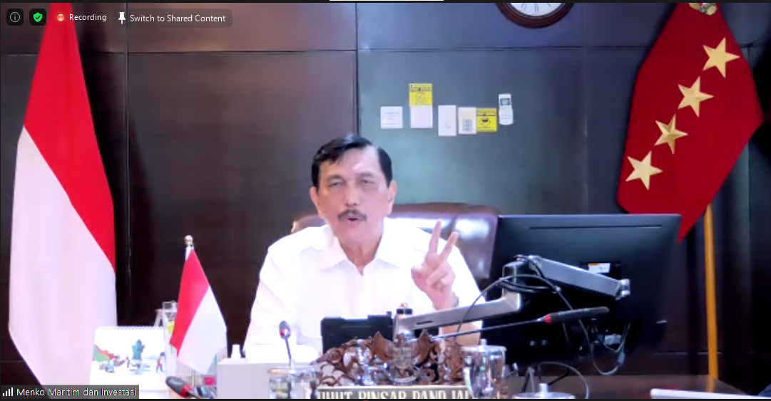 Menteri Koordinator Bidang Kemaritiman dan Investasi Luhut Binsar Pandjaitan. (Foto: Tangkapan layar/Pulina Nityakanti Pramesi)