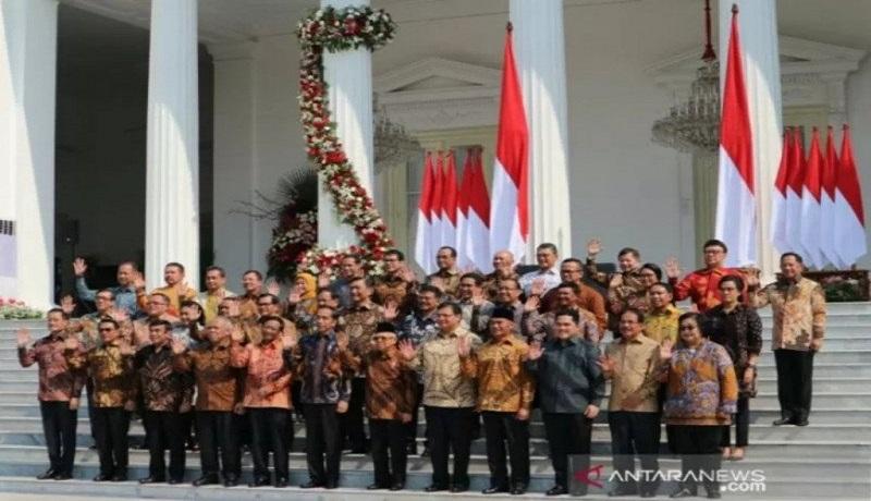 Jajaran menteri Kabinet Indonesia Maju. Foto: Antara