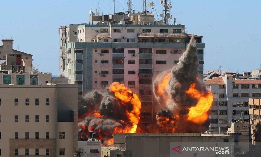 Serangan militer Israel ke Jalur Gaza. FOTO: Antara
