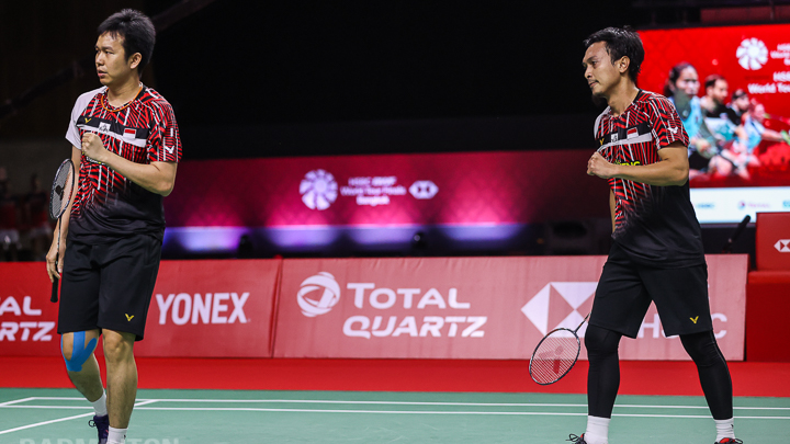 Mohammad Ahsan dan Hendra Setiawan di BWF World Tour Finals. (foto: Badminton Photo)