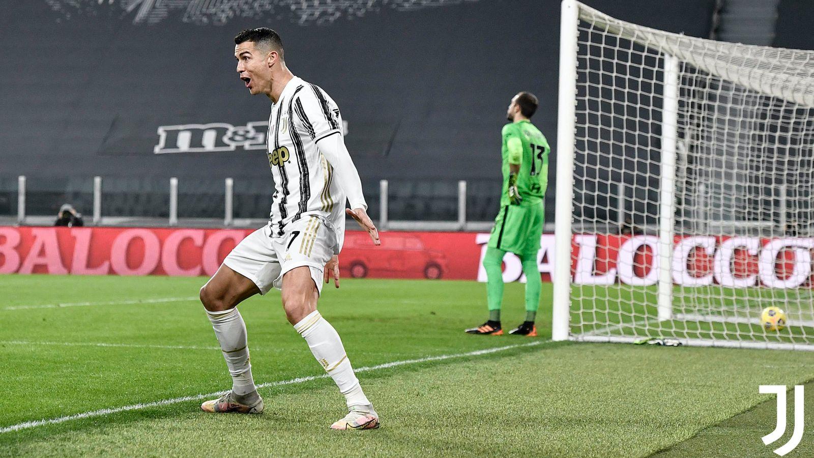 Ronaldo selebrasi dalam laga Juventus vs AS Roma. (foto: twitter.com/juventusfc)