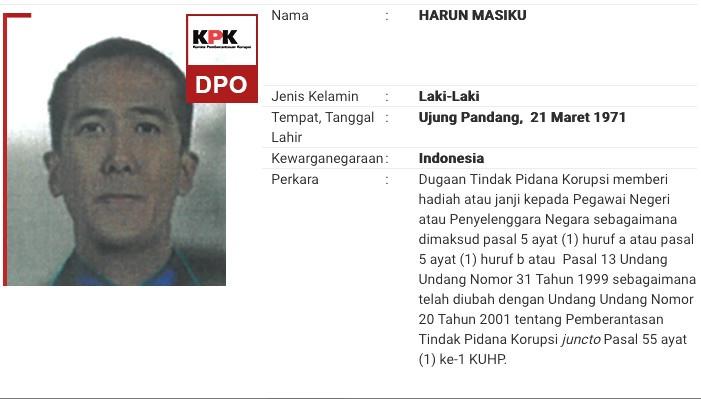 Harun Masiku yang dipajang di daftar buronan KPK. Foto: kpk.go.id.