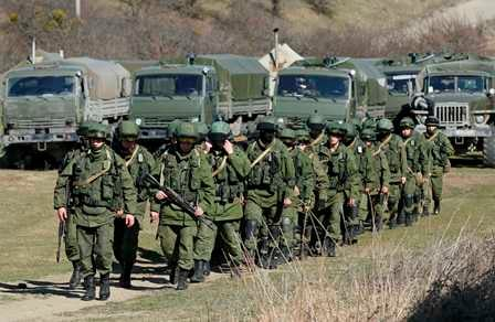 Pasukan Rusia di sekitar Crimea, Ukraina. Foto: Reuters.
