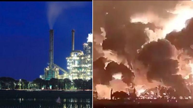 Kilang Pertamina Balongan, Indramayu sebelum dan saat dilalap api (foto: SC Twitter @maz_faiz)