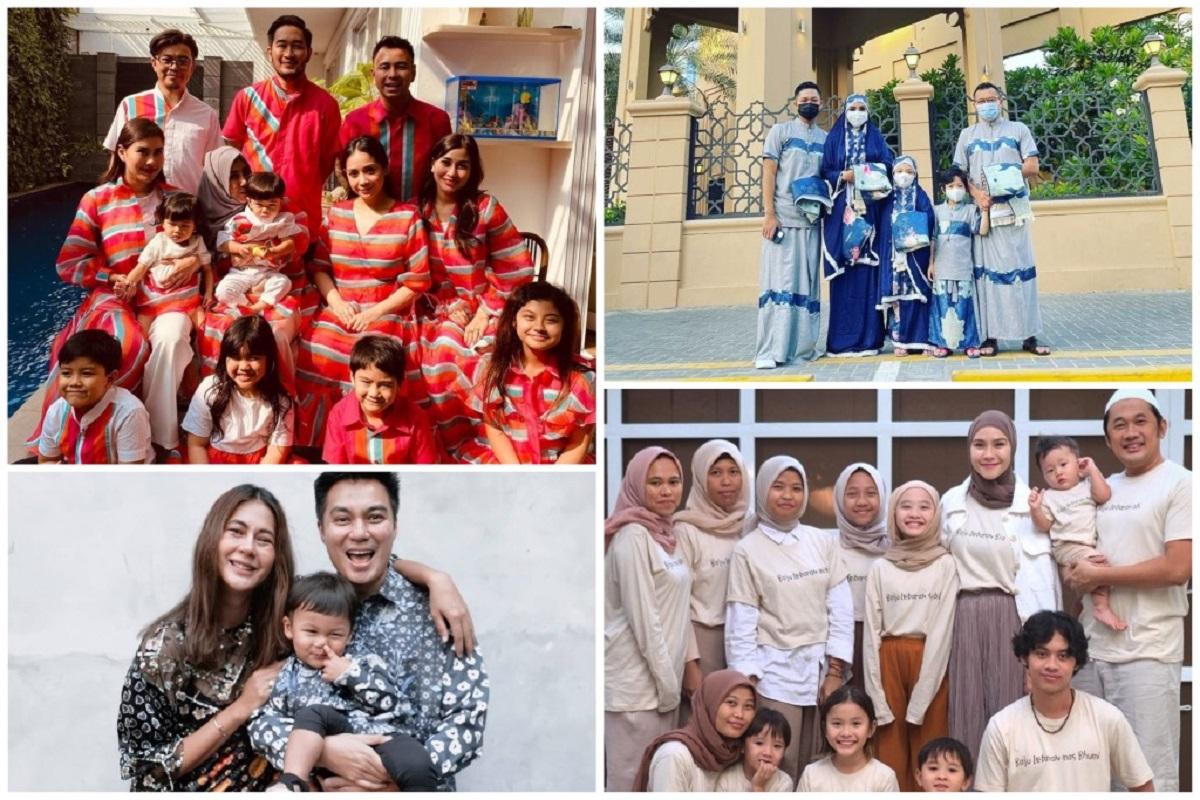 OOTD Lebaran Ala Keluarga Seleb, Mewah dan Kompak Banget! (foto: instagram @zaskiadyamecca @raffinagita1717 @baimwong @ananghijau)