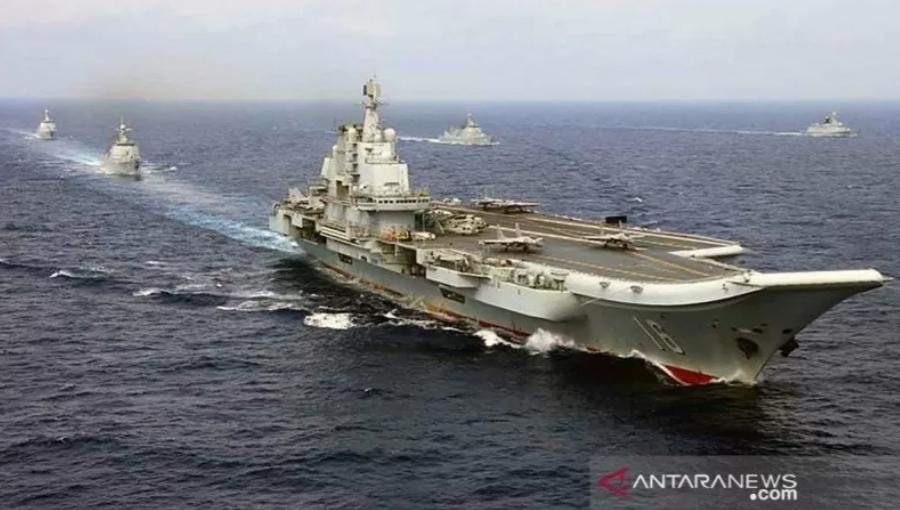 Kapal induk China Liaoning-1200. ANTARA/HO-China Military/mii.