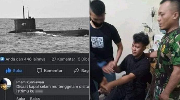 Postingan akun Facebook Imam Kurniawan yang dianggap melecehkan. Iwan Kurniawan dibawa ke koramil. Dia mengaku akunnya di-hack. Foto: facebook