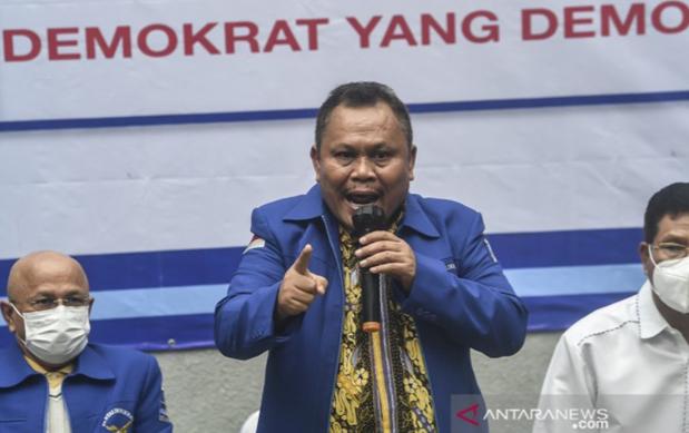 Sekjen Partai Demokrat versi KLB Jhonny Allen. ANTARA FOTO/Muhammad Adimaja/aww.