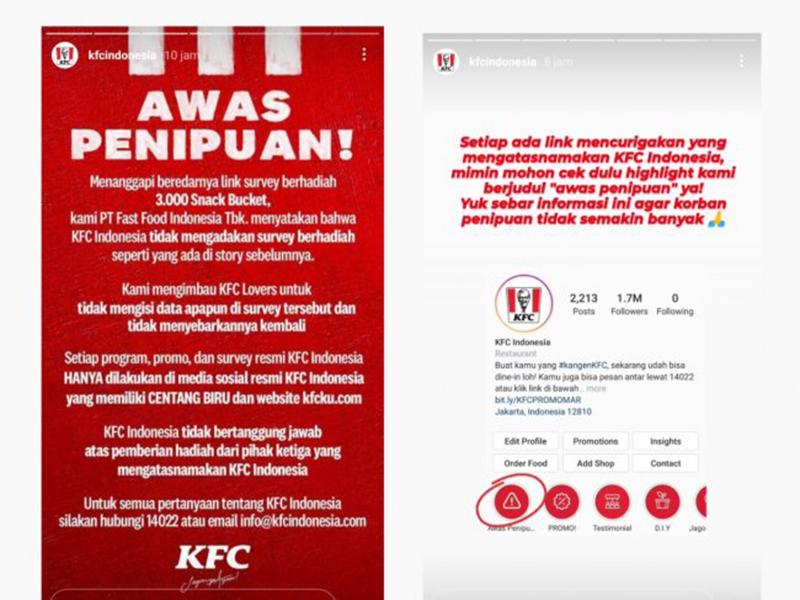 Tangkapan layar klarifikasi dari KFC Indonesia. Foto: Instagram @kfcindonesia