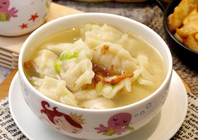 Sup pangsit daging ayam. Foto: Cookpad