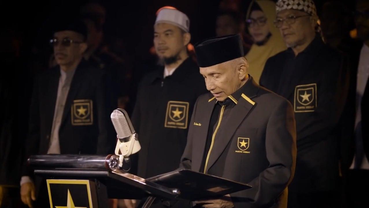 Amien Rais mendeklarasikan Partai Ummat secara resmi lewat tayangan live di kanal YouTube. Foto: YouTube/Amien Rais Official