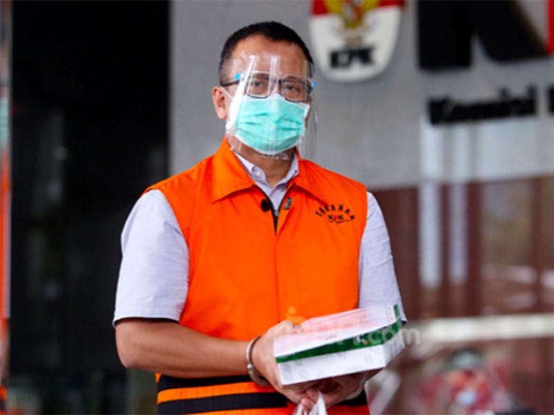 Mantan Menteri Kelautan dan Perikanan Edhy Prabowo usai menjalani pemeriksaan di Gedung KPK, Jakarta beberapa waktu lalu. Foto: Jpnn.com/GenPI.co
