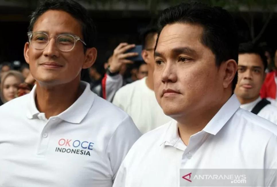 Sandiaga Uno dan Erick Thohir. ANTARA/Fauzi/aa