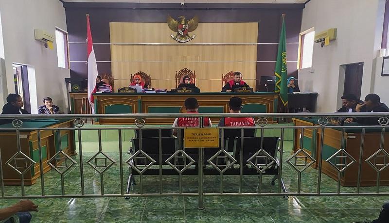 Suasana persidangan tiga terdakwa sabu 37 kilogram yang dijatuhi vonis mati oleh majelis hakim Pengadilan Negeri Bengkalis. (ist)