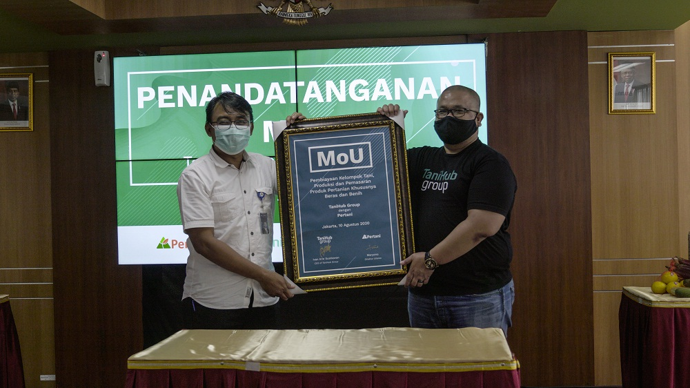 Startup pertanian, TaniHub Group telah menandatangani nota kesepahaman (Memorandum of Understanding/MoU) dengan PT. Pertani (Persero), sebuah BUMN yang bergerak di sektor pertanian. Foto: PR TaniHub