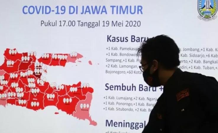 Peta sebaran COVID-19 di Jatim. (ANTARA/Humas Pemprov Jatim/FA)