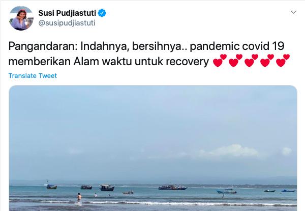Susi Pudjiastuti Unggah Cantiknya Pantai Pangandaran Saat Pandemi. Foto: Twitter @susipudjiastuti