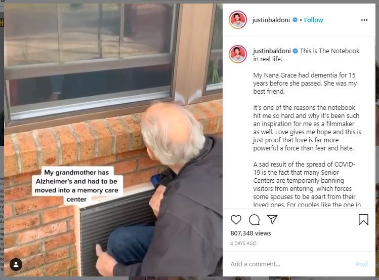 Kisah Pasangan Kakek-Nenek Terpisah Karantina Corona (instagram.com/justinbaldoni)