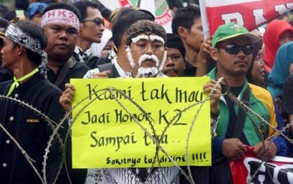 Honorer K2 Demonstrasi (Foto: jpnn)