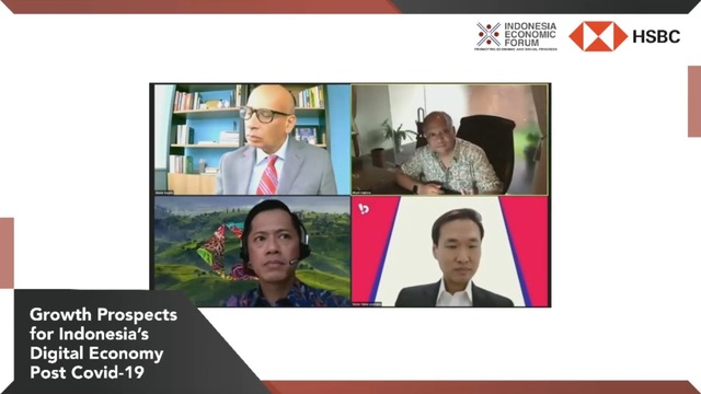 Indonesia Economic Forum berkolaborasi dengan HSBC Indonesia mengadakan IEF Round Table bertajuk Growth Prospects for Indonesia's Digital Economy Post Covid-19.