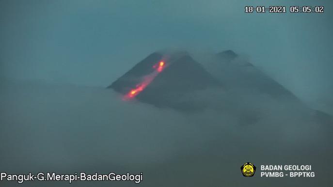 Gunung Merapi semburkan awan panas. Foto: PVMBG