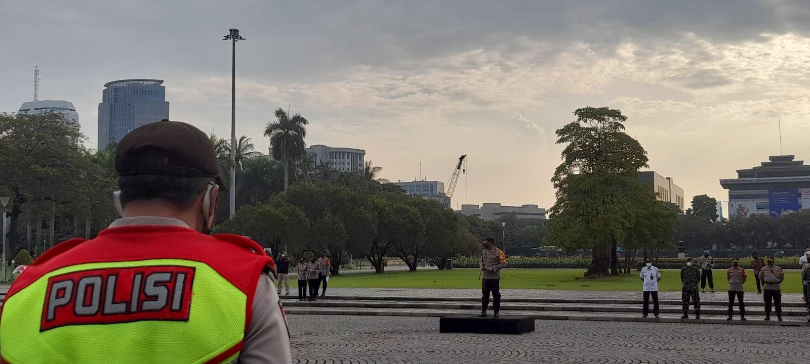 Polres Jakpus Sebar 1300 Personil Gabungan Cegah Takbiran Keliling. Foto: Andri Bagus/GenPI.co