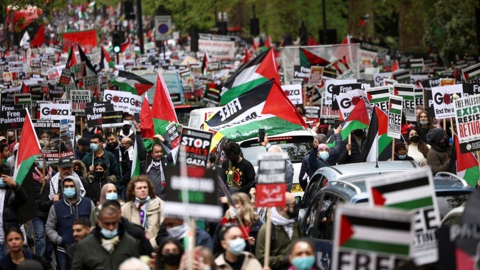 Aksi bela Palestina. Foto: BBC