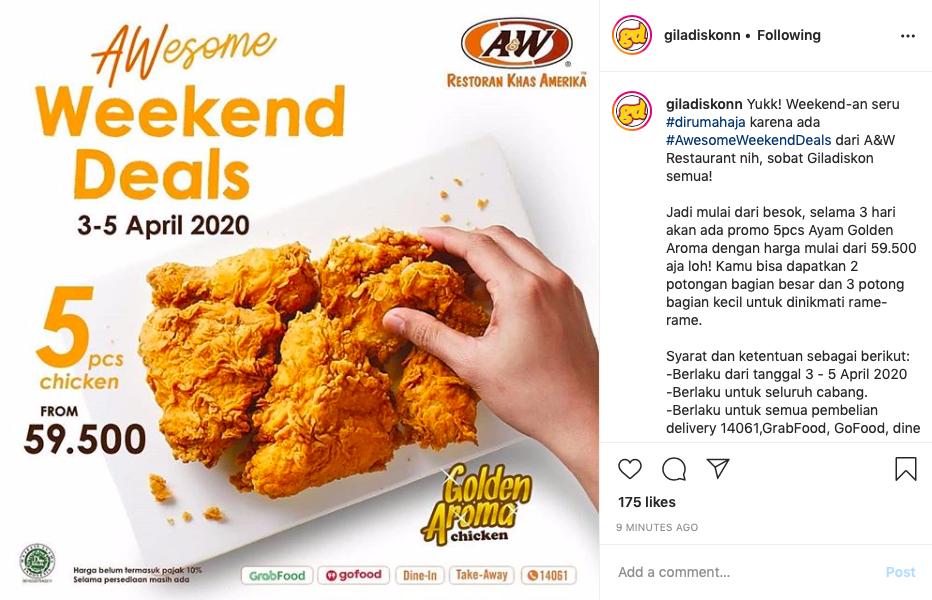 A&W Berikan Promo #AwesomeWeekendDeals Berlaku 3-5 April 2020