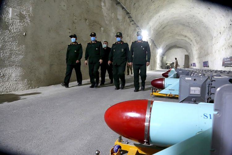 Pangkalan rahasia yang dirilis Garda Revolusi Iran. (SEPAHNEWS via AP)