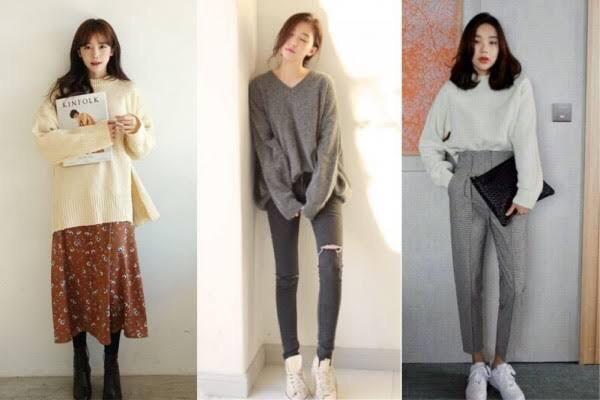 OOTD sweater dengan gaya modis. Foto: Pinterest