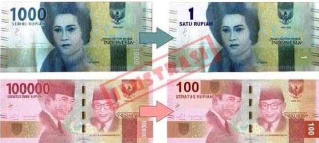 Indonesia Akan Redenominasi Mata Uang, Ini Penampakan Rp 1