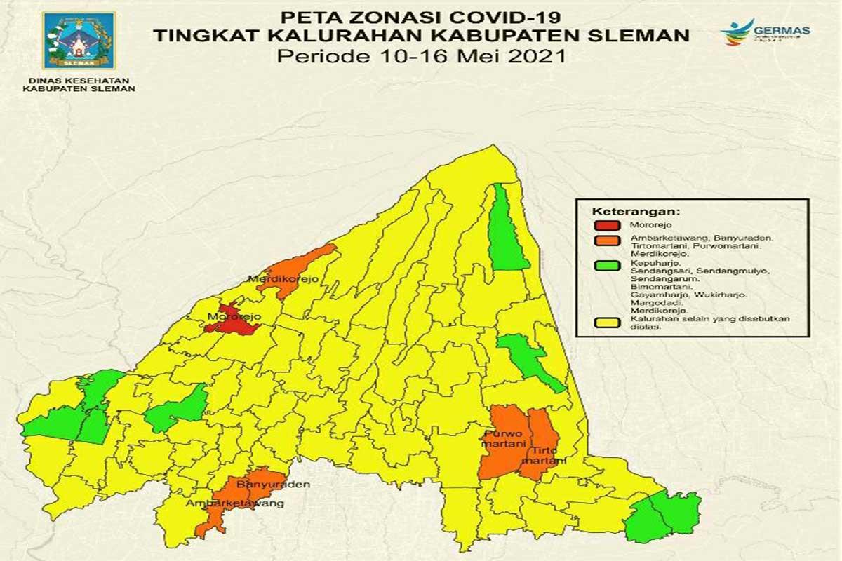 Peta zonasi Covid-19 kelurahan di Kabupaten Sleman sesuai aturan PPKM Mikro.(FOTO: Humas Pemkab Sleman)