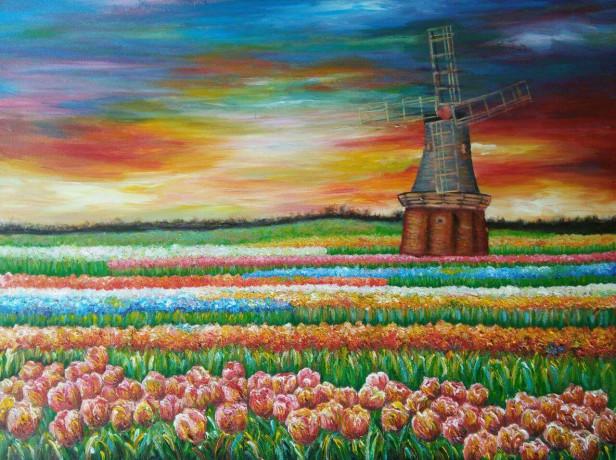Lukisan Aprillisyfa terinspirasi dari kebun tulip Belanda.