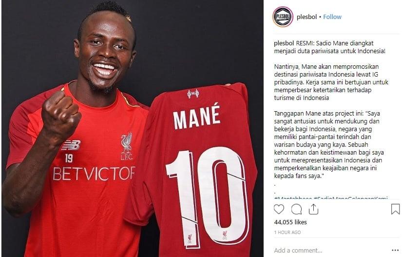 Sadio Mane Liverpool Jadi Duta Pariwisata Indonesia