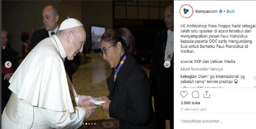 Susi Pudjiastuti bertemu Paus Fransiskus di Vatikan, Rabu (13/12).