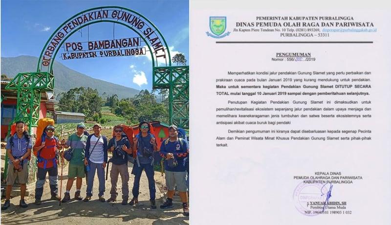 Jalur pendakian dari Pos Blambangan ditutup hingga waktu yang belum ditentukan