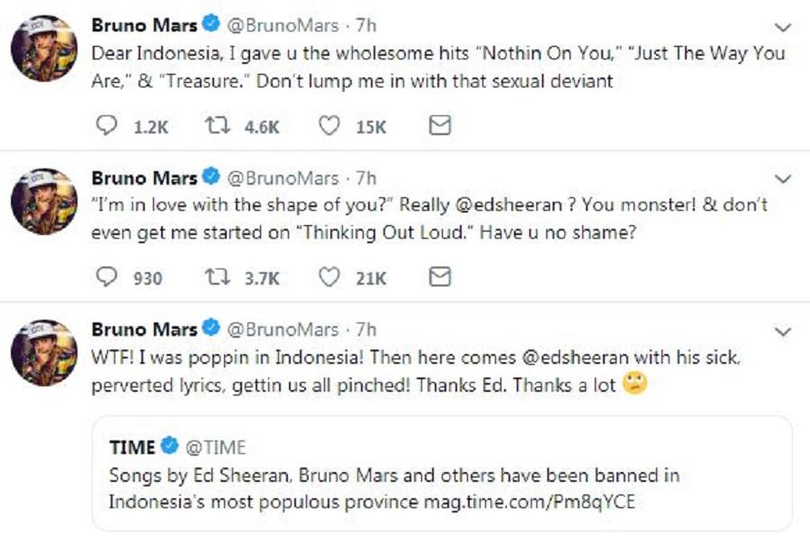 Twit Bruno Mars mengenai lagunya yang dibatasi penayangannya di Jawa Barat karena dianggap cabul. (Foto: Twitter)