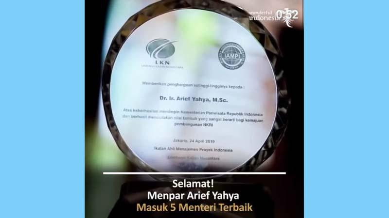 Menpar Arief Yahya dinobatkan sebagai menteri terbaik (foto: Instagram @menpar.ariefyahya)