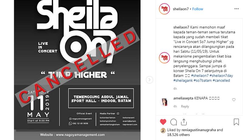 Sheila On 7 Batal konser di Batam.