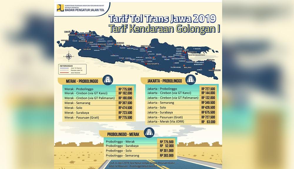Tarif tol Trans Jawa. (Foto: @bpjt_info)