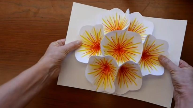 Kartu Pop Up Bunga Teratai untuk rayakan Hari Raya Waisak (Foto : Youtube)