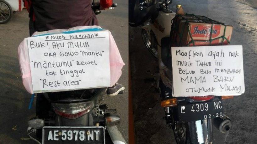 Para pemotor yang hendak mudik tahun ini lebih kreatif bikin tulisan di bagian belakang. Asli kocak parah! (Foto : Istimewa)