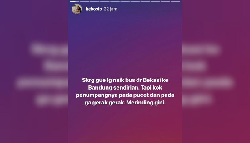 Curhatan enterpreneur kala naik bus hantu dari Bekasi ke Bandung (Foto : Instagram)