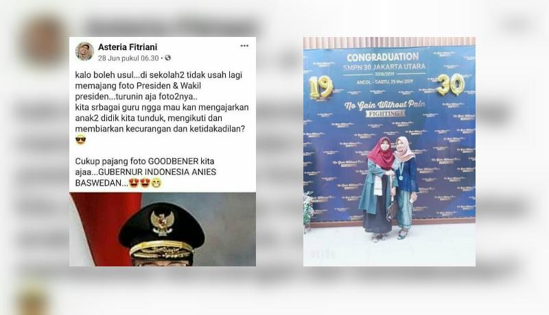 Asteria Fitriani yang menyerukan tiap sekolah agar tak pasang foto Jokowi (Foto : Istimewa)